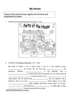 It's a worksheet for begginers to practice vocabulary related to the parts of the house and prepositions of place. The students should be able to give information about a house and the position and availability of certain objects and furniture that you can find there. - ESL worksheets