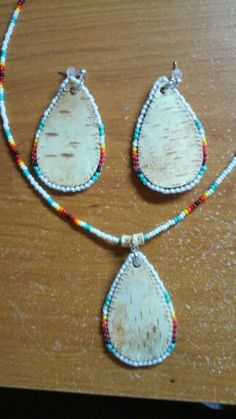 Birch bark earrings and necklace