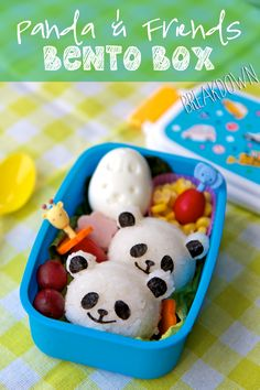 Bento Box Breakdown: Panda Onigiri and Friends - Panda & Friends Bento Box Recipe/Tutorial – Super cute kids lunch idea! Cute Bento Boxes, Bento Box Lunch, Box Lunches, School Lunches, Rice Balls, Edible Arrangements, Edible Art, Cute Food, Kid Friendly Meals