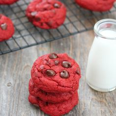 Soft Red Velvet Chocolate Chip Cookies