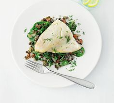 Smoked haddock with lemon & dill lentils. A low-GI supper for two with ...