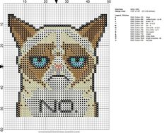 Grumpy cat - cross stitch pattern with colors!