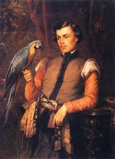 "Józef Simmler(1823-1868) 🇵🇱🎨  ""Szlachcic z papugą"", 1859"