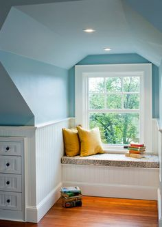 pretty color on upper walls with bead board anchoring the room and giving it character