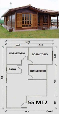 Cabin Homes, Log Homes, Small House Plans, House Floor Plans, Bamboo House, Bedroom House Plans, Wooden House, Shed Plans, Bungalows