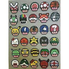 Mario mushrooms hama beads by katjanpostiii Hama Beads Mario, Diy Perler Beads, Pearler Beads, Fuse Beads, Super Mario, Pixel Art Champignon, Hama Art, Pikachu, Iron Beads