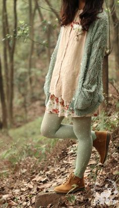 oversized sweater, floral dress, delicate cardigan, polka dot tights, and boots