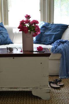 Cottage Fix blog - pink roses in a vintage pink flour canister