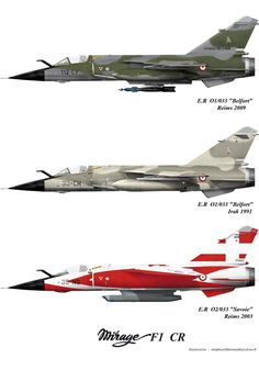 French Air Force Dassault Mirage in various liveries Military Jets, Military Aircraft, Fighter Aircraft, Fighter Jets, Mirage F1, Air Force Bomber, South African Air Force, Dassault Aviation, Aircraft Painting