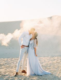 White Sand Elopement Inspiration with Whimsical Boho Details Blue Wedding Dresses, Green Wedding Shoes, Wedding Gowns, Engagement Session, Engagement Photos, Gown Pictures, Blue Bridal, Pre Wedding Photoshoot, Elopement Inspiration