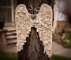 Angel wings made of muslin and shredded paper