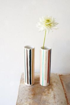 The Harlequin Striped Vases are simple and make quite an impact.
