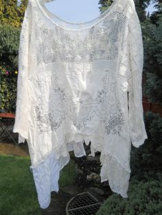 Ooak os auth rnt w magnolia bow cream pearl antique lace gypsy prairie shirt