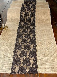 Items similar to Burlap table runner with black lace, rustic table runner, handmade in the USA on Etsy, Diy Abschnitt, Burlap Projects, Burlap Crafts, Black Lace Table, Rustic Table Runners, Lace Runner, Burlap Lace, Hessian, Diy Table, Creations