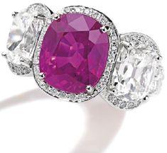 Platinum, Pink Sapphire and Diamond Ring, Oscar Heyman & Brothers
