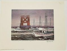 "Floyd Hildebrand FISHING BOATS UNDER GOLDEN GATE BRIDGE IN FOG Print 11.5 x 15"" #ContemporaryArt Print, Artwork Display, Fog, San Francisco Artwork, Painting, San Francisco Art, Floyd, Art, Contemporary Art"