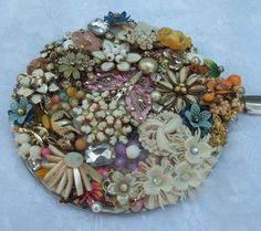 "Jeweled Hand Mirror  Spring Has Sprung  DD76 by donDiLights, $60.00 IDEA/ 6"" MIRROR USING VINTAGE KNIFE...LOVELY"