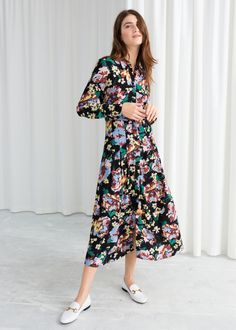 Model front image of Stories printed flared shirt dress in black Flare  Skirt Outfit 5a8638f94c5