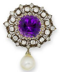 An amethyst, diamond and cultured pearl brooch, 19th century.
