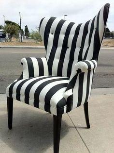 Striped Black And White Chair Sofa Furniture