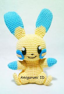 Finally, I managed to make this amigurumi. In my second pattern I'm goi. Finally, I managed to make this amigurumi. In my second pattern I'm going to show you how to make this Amigurumi Minun. Pokemon Crochet Pattern, Crochet Stitches Patterns, Amigurumi Patterns, Amigurumi Toys, Crochet Disney, Diy Crochet, Crochet Dolls, Irish Crochet, Crochet Hammock
