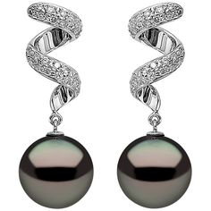 For Sale on - These modern earrings by Yoko London feature lustrous Tahitian pearls beneath a contemporary swirl of diamonds. Set in 18 Karat White Gold to enhance the Black Pearl Jewelry, Black Pearl Earrings, 18k Gold Earrings, Drop Earrings, Opal Necklace, Dainty Necklace, Flower Earrings, Tassel Earrings, Cheap Wedding Rings