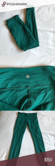 Green lulu lemon leggings Normal rise turquoise green full length leggings, in nearly perfect condition other than minor pilling in the back, I think these run a bit small because they fit a bit snug and they suck everything in, super flattering lululemon athletica Pants Leggings