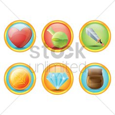 set of fantasy icons Stock Vector