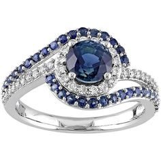 14k White Gold Sapphire & 1/4 Carat T.W. Diamond Bypass Engagement... ($1,601) ❤ liked on Polyvore featuring jewelry, rings, blue, blue sapphire ring, white gold sapphire ring, sapphire engagement rings, white gold diamond rings and diamond engagement rings