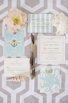 Nautical wedding invitations: http://www.stylemepretty.com/2012/02/28/bald-head-island-wedding-by-harwell-photography/ | Photography: Harwell - http://harwellphotography.com/