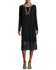 TAGK5 Eileen Fisher Long-Sleeve Knee-Length Dress W/ Chiffon Hem