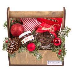Новогодний чайный набор 1 750 руб.  чай с шиповником и яблоками в стекляной баночке конфеты коркунов баночка джема елочная игрушка мягкая ящик ель нобилис новогодний декор шишки