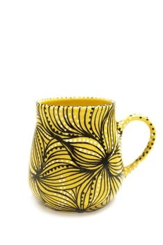 MADE-TO-ORDER Canary Yellow Fleurette Coffee Mug with Black and White Accents via Etsy