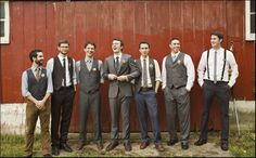Most Unique Vintage Groomsmen Attire For Simple Wedding Ideas Vintage Groomsmen Attire, Mismatched Groomsmen, Groomsmen Outfits, Groom And Groomsmen, Groom Attire, Groomsmen Suspenders, Groomsman Attire, Groom Suits, Mens Attire