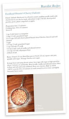 {Taste} Ontario Foodland's Cherry Clafoutis Cherry Clafoutis, Eat To Live, Cooking Time, Ontario, Peach, Drink, Recipes, Food, Peaches