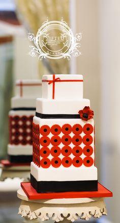 Modern white, red and black wedding cake