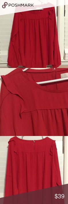 LOFT Shirt-Red New with tags!! LOFT red shirt, Large. Never been worn or washed. Cute! LOFT Tops Blouses
