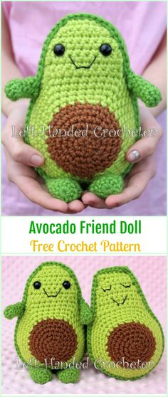 Crochet Avocado Friend Doll Free Pattern - #Crochet Doll Toys Free Patterns #Amigurumi