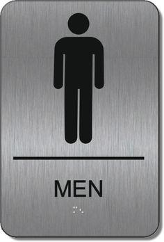 ADA Men's Restroom Signs with Braille Restroom Signs, Ada Signs, Alpha Dog, Office Bathroom, Brushed Metal, Signage, Signs
