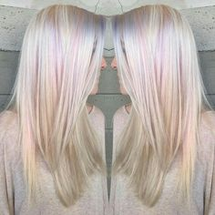 More natural Platinum with subtle licks of pastel pink and lavender. By Butterfly Loft stylist Caroline. Hair Color And Cut, Cool Hair Color, Hair Colors, Opal Hair, Lavender Hair, Platinum Hair, Pink Hair, Blonde Hair Pink Roots, Blonde Hair With Pink Highlights