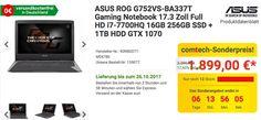 ASUS ROG G752VS-BA337T Gaming Notebook 17.3 Zoll Full HD i7-7700HQ 16GB 256GB SSD + 1TB HDD GTX 1070 - jetzt 11% billiger