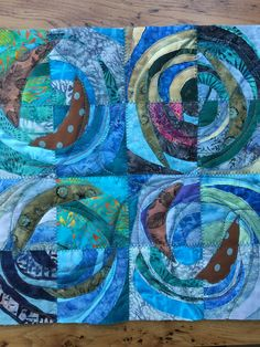 Study in green and blue, circles, quilt, layers