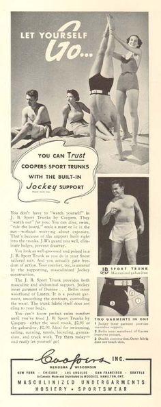 Vtg 1937 Coopers Jockey Men's Mens Underwear Beach Swim Short Trunks Swimsuit Ad | eBay