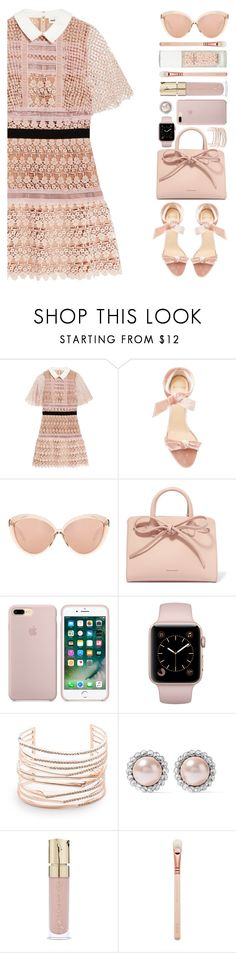 """Untitled #502"" by cherryprincessannie ❤ liked on Polyvore featuring self-portrait, Alexandre Birman, Linda Farrow, Mansur Gavriel, Alexis Bittar, Miu Miu, Smith & Cult and Guerlain"