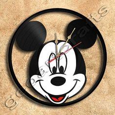 Wall Clock Mickey Mouse Vinyl Record Clock Upcycled Gift Idea on Etsy, $34.69