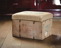 Brazilian Coffee Bean Sack Footstool Ottoman by UpholsteryClassics