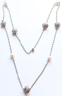 Avon Signed Silver Tone Faux Pearl Long Necklace 35 Inches by paststore on Etsy