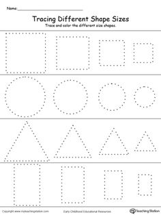 **FREE** Tracing Different Shape Sizes: Square, Circle, Triangle and Rectangle Worksheet.Trace and color different sizes of the same shape in this printable worksheet. Practice drawing oval, diamond, pentagon and hexagon shapes while working on fine motor skills.