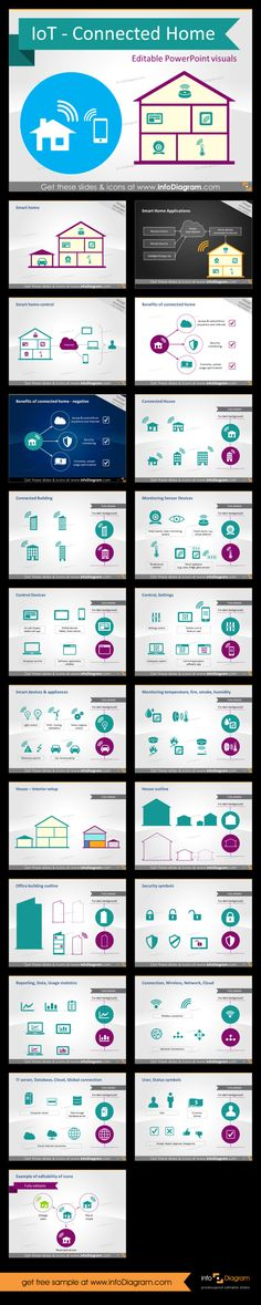 Internet of Things graphics library for creating a presentation on Connnected Home topic. Using only PowerPoint or Keynote, you can easily draw a connected home with all IoT equipment, create a diagram illustrating any IoT process, structure, IT system communication flow.