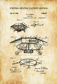 1928 Helicopter Patent - Vintage Helicopter, Helicopter Blueprint, Aviation Art, Pilot Gift, Aircraft Decor, Airplane Poster #patentartgifts